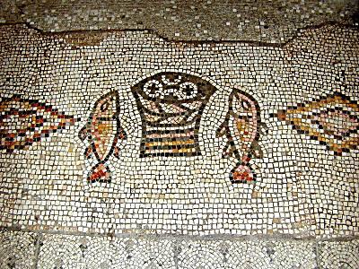 HISTOIRE ABRÉGÉE DE L'ÉGLISE - PAR M. LHOMOND – France - année 1818 (avec images et cartes) Loaves-and-fishes-mosaic